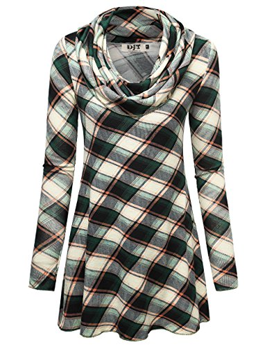 Plaid Cowl Neck (DJT Women's Cowl Neck A-Line Tunic Knit Top Large Green Plaid)