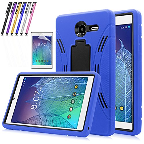 Windrew Heavy Duty rugged impact Hybrid Case with Build In Kickstand Protective Case For Alcatel Onetouch POP 7 LTE (T-Mobile 2016 Model 9015W) + Screen Protector Film and stylus pen (Blue) (Alcatel One Touch Pop 7 Case Kids)