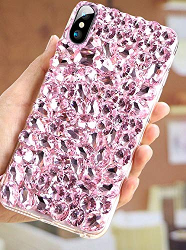 Price comparison product image ikasus Case for iPhone XR Cover, iPhone XR Diamond Case, 3D Handmade Bling Rhinestone Diamonds Luxury Sparkle Rhinestones Case Girls Women Full Crystals Bling Diamond Case Cover for iPhone XR, Pink