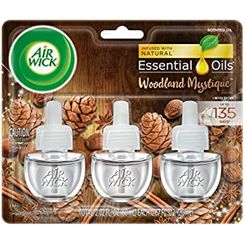 Air Wick Plug in Scented Oil 3 Refills, Woodland Mystique, (3x0.67oz), Essential Oils, Air Freshener
