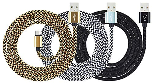 "Amazon Kindle Cable Fire 10ft Micro USB Cable,Myckuu High Speed USB 2.0 Cable For Amazon Kindle Fire, HD, HDX,8.9"", Kindle Paperwhite,Voyage, works with all Micro-USB Tablets(black gold white)"