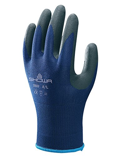 Showa Gloves SHO385-L No.380 Foam Glove, Size: L, Blue/black
