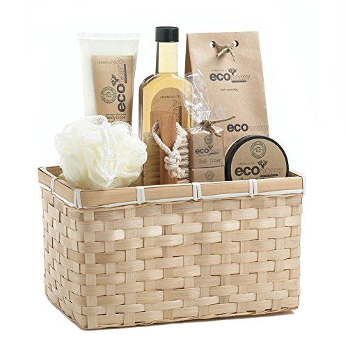 Bath Gift Basket, Luxury New Home Spa Set Gift Baskets Mom (bamboo Sugarcane)