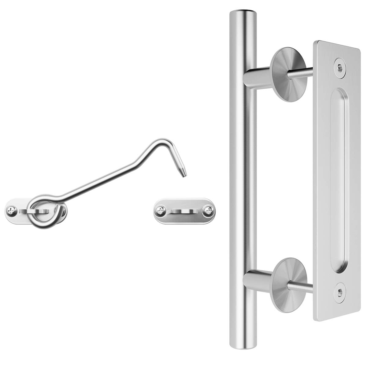 SMARTSTANDARD 12'' Stainless Barn Door Handle Set with Latch Lock Hook, Flush and Pull Two-Side Rustic Gate Door Handle for Garages Furniture Shed Doors, Round