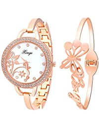 Xinge Womens Mother-Of-Pearl Dial Rose Gold Bangle Watch and Butterfly Bracelet Set 388-R