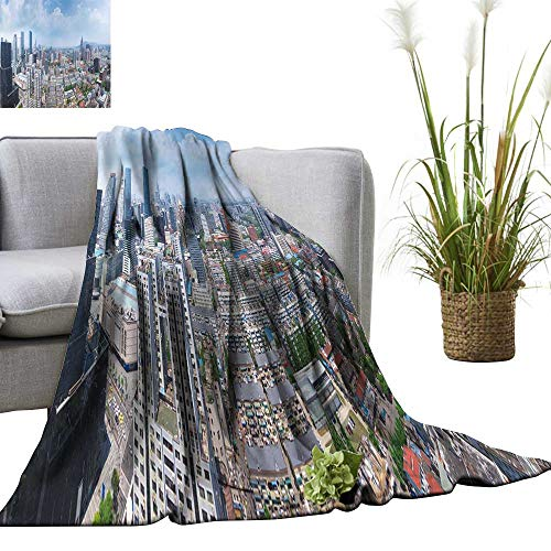 YOYI Travel Blanket Skyline n j City on a Skyscraper in China Easy to Carry Blanket 70
