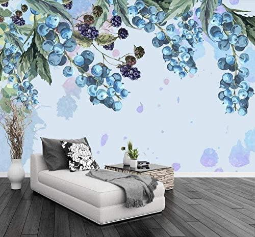 Hxcok 壁の壁画3D壁紙手描きのベリーブルーベリーのリビングルームの寝室のテレビの背景の壁の装飾アート-130X80cm