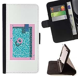 For Samsung Galaxy J3(2016) J320F J320P J320M J320Y Case , Piscina Rosa Azul Aguamarina minimalista- la tarjeta de Crédito Slots PU Funda de cuero Monedero caso cubierta de piel