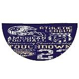 Half Round Door Mat Entrance Rug Floor Mats,Sports,Retro American Football College Illustration Athletic Championship Apparel Decorative,Purple White Yellow,Garage Entry Carpet Decor for House Patio G