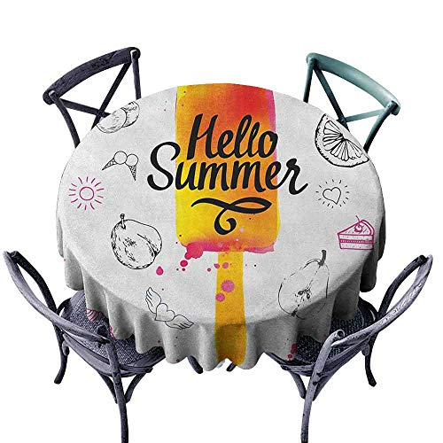 Picnic Round Tablecloth Table Cover Ice Cream,Hello Summer Motivational Quote with Lime Heart Sun Cake Color Splashes Image, Multicolor Diameter 50