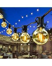 Lichtketting Buiten, Outdoor Lichtgevende slingers, G40 LED-lichte ketting Waterdichte krans lichten buiten wit warm voor patio tuinfeest bruiloft kerstcafé (25FT)