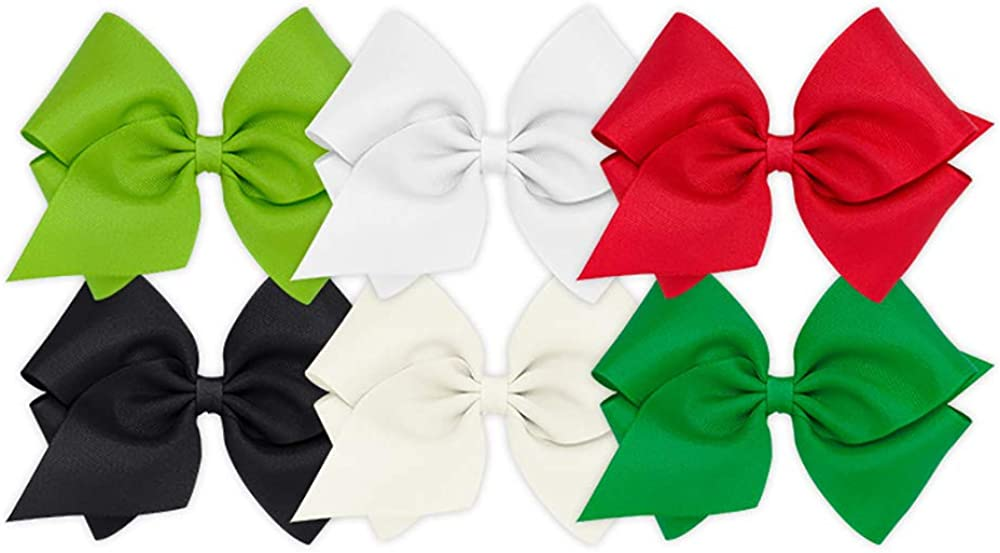 Wee Ones Girls' King Bow 6 pc Set Solid Grosgrain Variety Pack on a WeeStay Clip