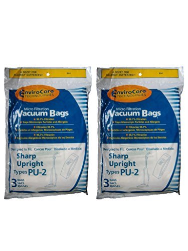 (EnviroCare Replacement Micro Filtration Vacuum Bags for Sharp PU-2 Uprights 6 Pack)