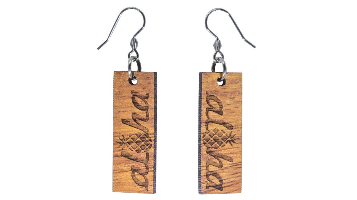 Aloha Pineapple Koa Wood Dangle Earrings