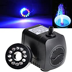 800L/H 210 GPH Submersible Water Pump For Aquarium Fish Tank Pond Fountain With 12 LED Lights (Random: Adaptor)
