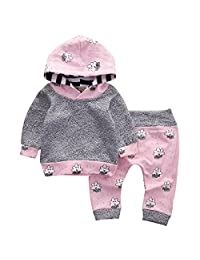 Newborn Baby Girls Clothes Long Sleeve Hoodies Tops Legging Pants Outfits Set
