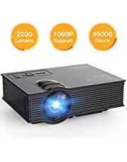 APEMAN Updated Version LED Video Projector Portable Mini Projector LCD Multimedia Support 1080P 40000 Hours with HDMI/VGA/USB/SD Card/AV Input for Home Cinema Video Game Outdoor Entertainment