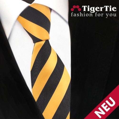 TigerTie Designer cravate jaune jaune doré anthracite noir rayé -