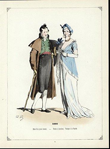 - Turban Headband Tunic ca. 1860 beautiful antique hand color ethnic costume print