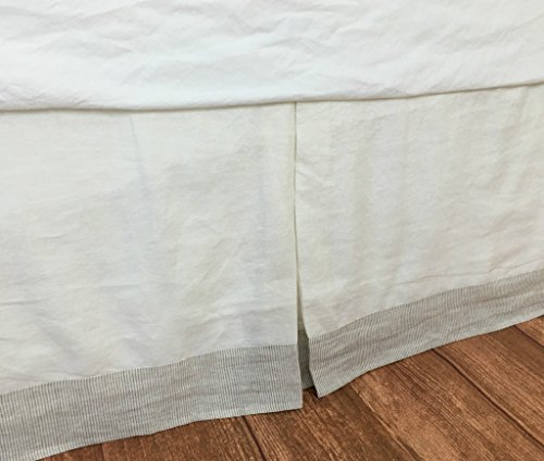 Tailored Bed Skirt in Soft White with Linen Ticking Striped Border, Borded Bed Skirt, Twin Queen King California King Bed Skirt, HANDMADE, FREE SHIPPING