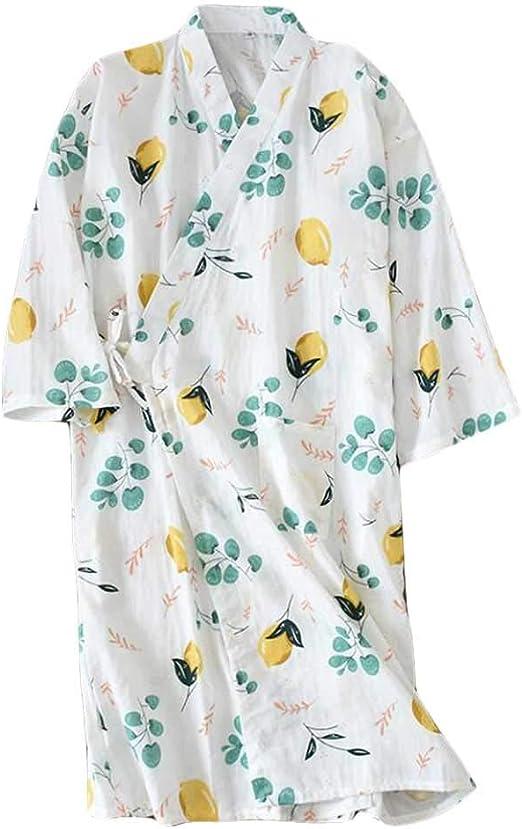 Pigeon Fleet Ropa de Dormir para Mujeres Batas de algodón Kimono Pijama camisón Grande Yukata, Blanco: Amazon.es: Hogar