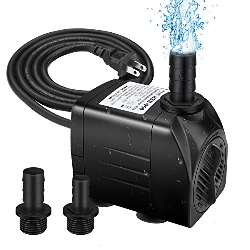 - Winkeyes 400GPH Water Pump with 48 Hours Anti Dry Burning, Ultra Quiet 25W Submersible Fountain Aquarium Fish Pond Hydroponic Pump with 6.9ft High Lift, 5.9ft Power Cord, 2 Nozzles
