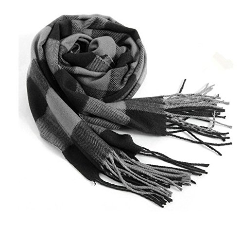Mens Winter Scarves - Men's Scarves Hot Sale Scarf Classic Arrival Winter Plaid Scarf Tassel Edge Soft Warm Scarf(Black Grey)