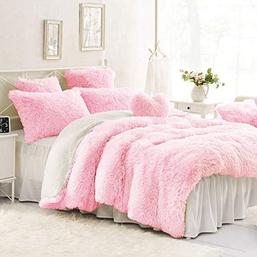 Fleece Twin Comforter Cloud - Sleepwish Plush Shaggy Duvet Cover Set Ultra Soft Plus Faux Fur Bed Quilt Cover 3 Pieces Kids Girls Pink Comforter Cover, Twin