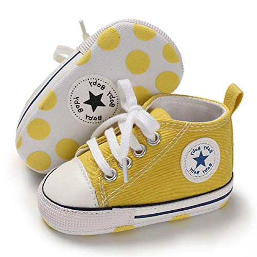 BENHERO Baby Girls Boys Canvas Shoes Toddler Infant First Walker Soft Sole High-Top Ankle Sneakers Newborn Crib Shoes(0-6 Months M US Infant), G-Yellow