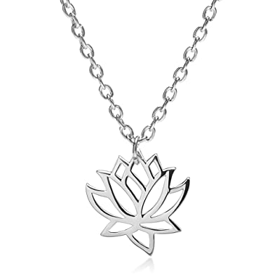 Amazoncom Choa Gold Silver Lotus Flower Pendant Necklace For Women