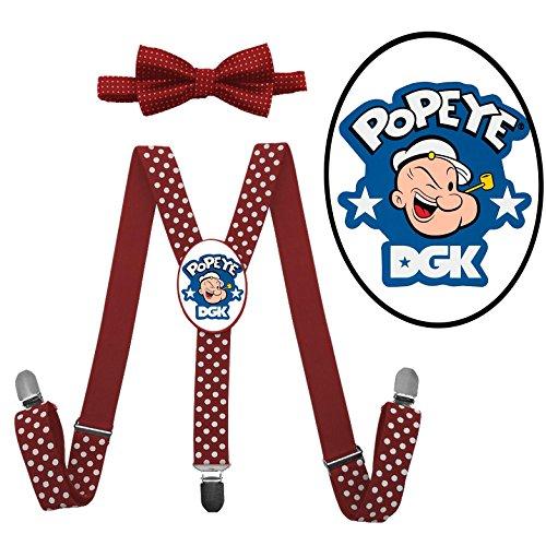 LSL Popeye Suspender+Bow Tie/Unisex Suspender/Adjustable Suspender/Y-Back (Olive Oyl And Bluto Costumes)