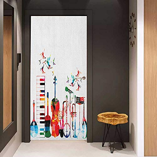 - Onefzc Front Door Sticker Music Colorful Musical Instruments Keyboard Guitar Banjo Trumpet Cello and Flying Birds for Home Decor W17.1 x H78.7 Multicolor