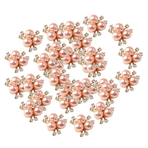 Prettyia 30Pcs Cute Fashion Jewelry Crystal Rhinestone Flowered Pearl Button Necklace Ornaments Hair Band Decors Earrings Supply Rose Gold Tone ()