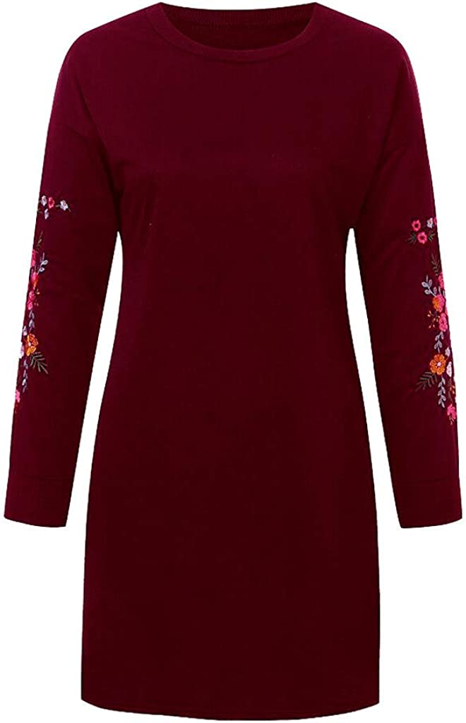 Dylanlla Womens Floral Embroidery Long Sleeve Sweatshirt Dress Crew Neck Casual Loose T-Shirt Tunics Dresses