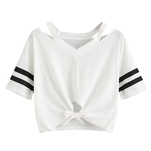 d47cebe6f8ad BCDshop Women Crop Tops Cute Ladies Summer T-Shirt Striped Short Sleeve  Casual Shirts Blouse