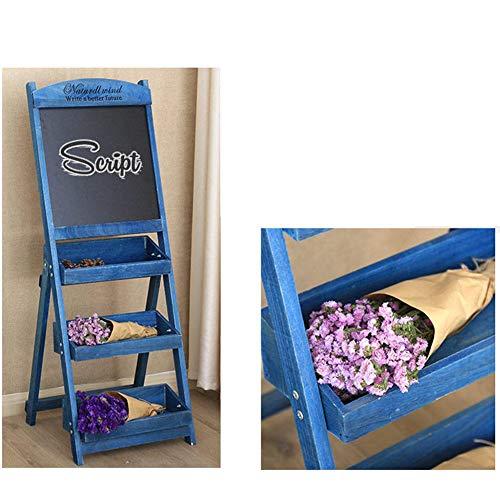 LIANGJUN Message Board Chalkboards Retro Wooden Multi-Layer Flower Stand Coffee Shop Shop Billboard Display Stand, 6 Colors (Color : Blue, Size : 42x43x119cm) by LIANGJUN-lyj (Image #2)