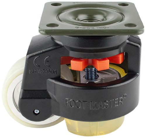FOOTMASTER-GD-100F-BLK-U-Urethane-Wheel-and-Pad-Leveling-Caster-1650-lbs-Top-Plate-3-34-x-3-34-Bolt-Holes-2-34-x-2-34-Black-Finish