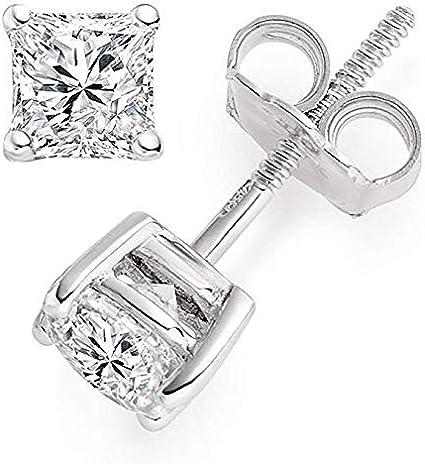 2Ct Created Diamond Princess Cut Solitaire Stud Earrings14K Yellow Gold