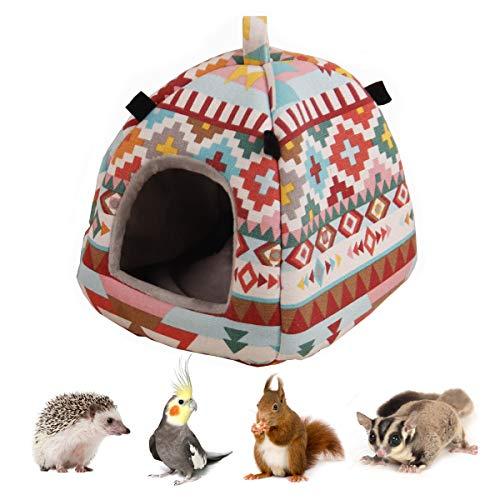 Hamster Tent Bed Winter Warm Hammock Sleeping Bed for Gerbil Rat Sugar Glider Squirrel Hedgehog Small Birds (M, Pink Ethnic)