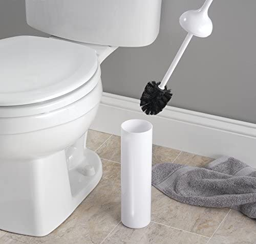 Scopino water sobrio e funzionale Anche per bagni di piccole dimensioni Portascopino con spazzolone incorporato mDesign Scopino bagno design in materiale plastico bianco