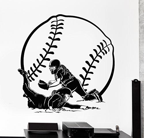 (Large Wall Vinyl Decal Girl Baseball Softball Woman Sport Home Interior Decor z4219 Silver Metallic)