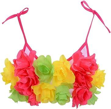 Amosfun Hawaianas niña Disfraz Tropical de Flores Traje de Playa ...