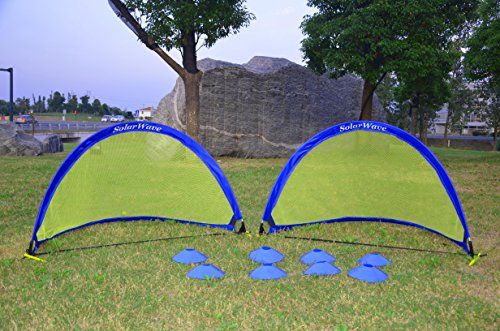 SolarWave Soccer Goals for Kids. Easy-up Set of Two 2 Portable 4 ft. Pop-up Soccer Nets with Sturdy Carry Bag. Score More! Win More! BONUS: 8 Field Marker Cones. Fun for Parks or Backyard! ()