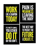 Gym Inspirational Posters; Motivational Fitness, Workout and Pain Quotes, 8x10 Inch, Set of 4
