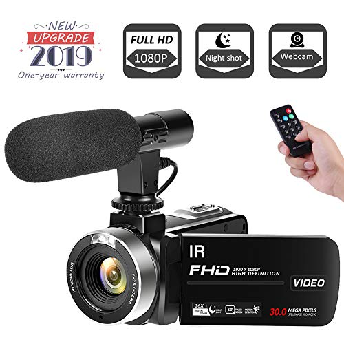 "Video Camera Camcorder, Vlogging Camera Full HD 1080P 30FPS 3"" LCD Touch Screen Vlog Camera IR Night Vision Video Camera for YouTube Videos with External Microphone"