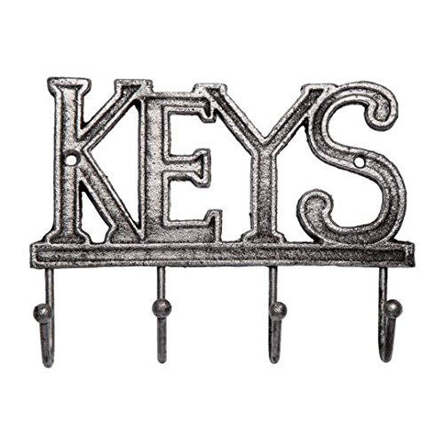 Key Holder - Keys - Wall Mounted Key Hook - Rustic Western Cast Iron Key Hanger - Decorative Key Organizer Rack with 4 Hooks - with Screws and Anchors - (Unique Hats Gloves)