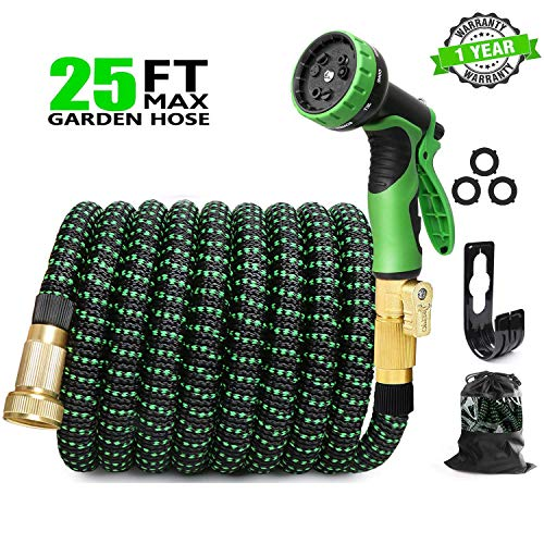 EASYHOSE 25ft Expandable Water Garden Hose,Expanding Flexible Hose with Strength Stretch Fabric with Brass Connectors - 9 Way Spray Nozzle +12 Months Warranty