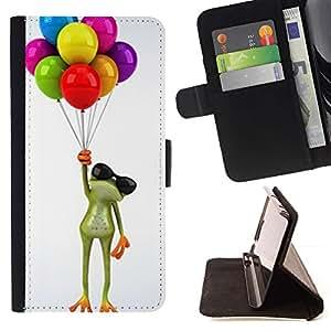 For Sony Xperia Style T3 Case , Hasta cumpleaños de la rana blanca Regalo- la tarjeta de Crédito Slots PU Funda de cuero Monedero caso cubierta de piel