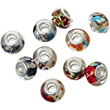 Pack of 20 Beads Wholesale - Resin European Style Charm Beads Round Silver Tone Mixed Flower Pattern