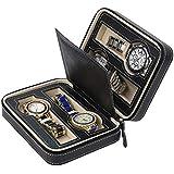 Watch Travel Case Storage Organizer Box,Portable 4 Slot Leather Watch Zippered Storage Organizer Case-Black